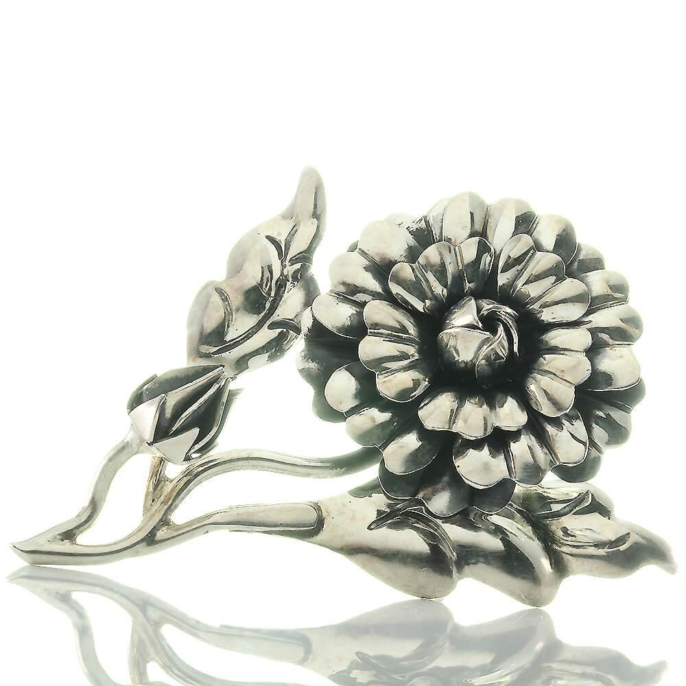 Sehr Große Designer Blüten Brosche Aus 925 Sterling Silber Schmuck & Accessoires
