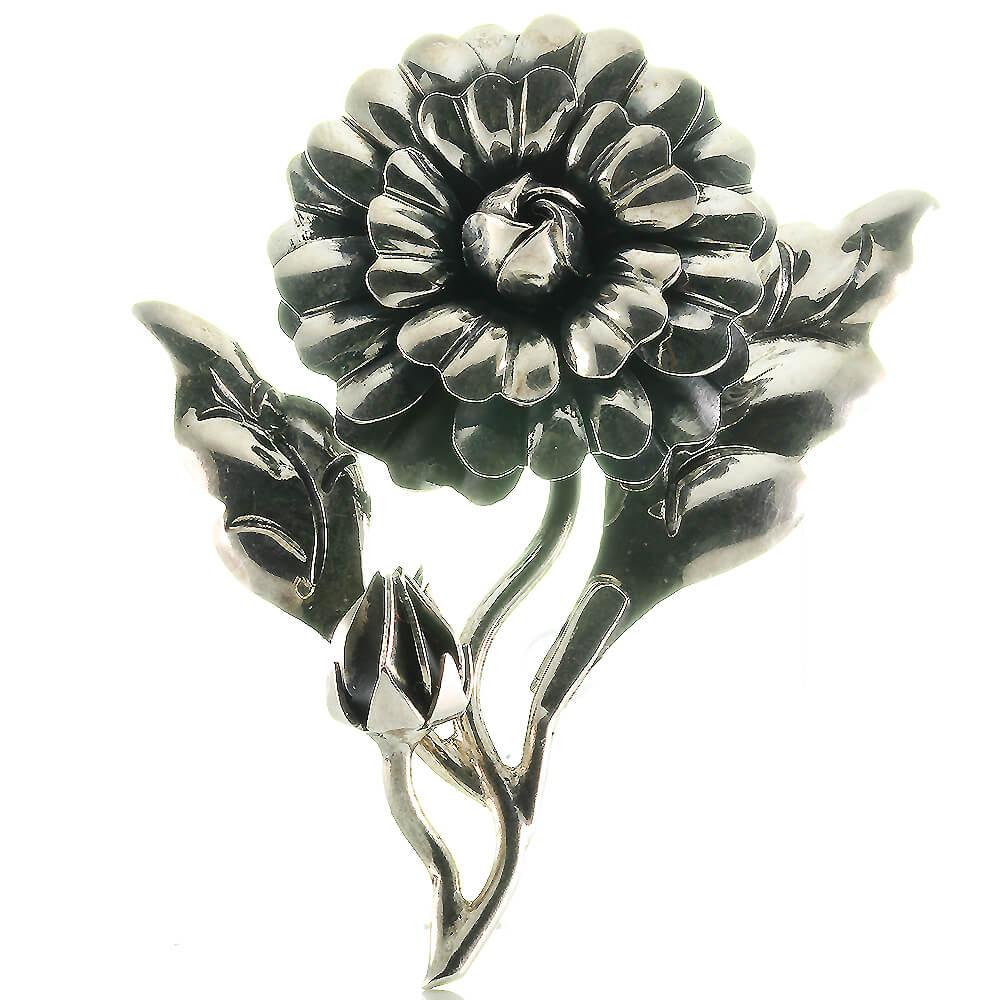 Silber Sehr Große Designer Blüten Brosche Aus 925 Sterling Silber