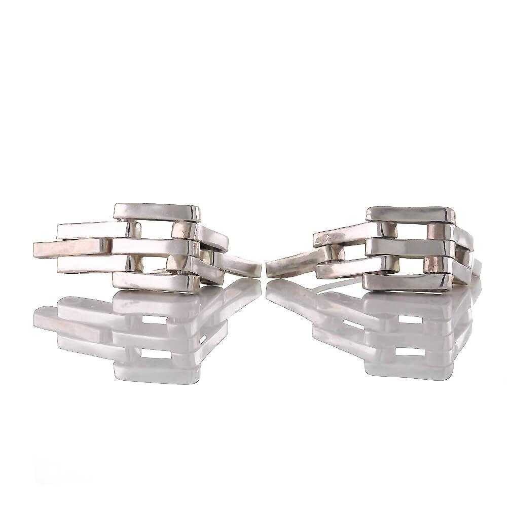 Beeindruckende Moderne Bewegliche Glieder Ohrringe Aus Silber 925