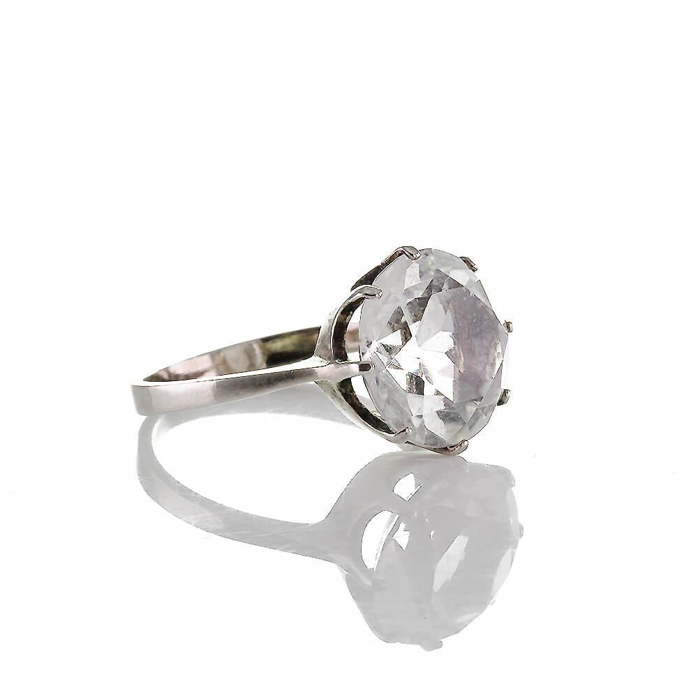 Klassischer Vintage Ring Silber 835 Mit Natürlichen Bergkristall Ca